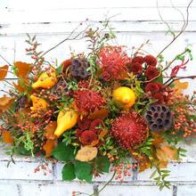 【秋のお店の開店祝いや個展祝いに】オータムフラワーアレンジ(フォレスト)