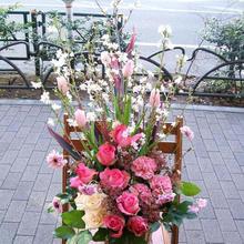 【お店の開店祝いやお誕生日祝いのプレゼントに】ピンクフラワーアレンジ(桜満開)
